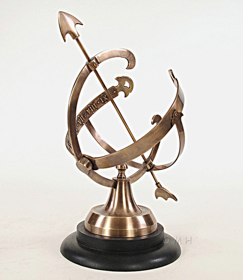 Brass Armillary Sphere Sundial Wood Base Antiqued Globe