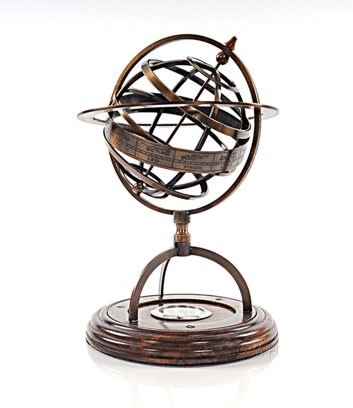 Brass Armillary Sphere Compass Wood Base