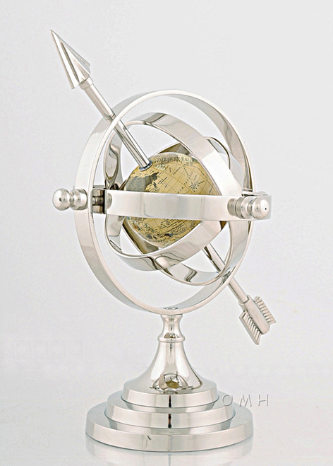 Aluminum Armillary Sphere Chrome Nickel Finish World Globe