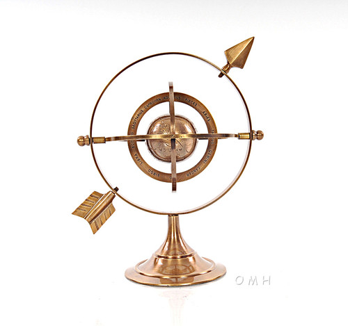 Brass Armillary Dial Sphere World Globe Table Decor