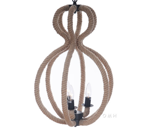 Nautical Rope Pendant Hanging Lamp Ceiling Fixture