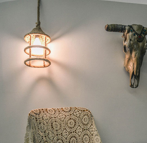 Nautical Rope Pendant Hanging Ceiling Fixture Light