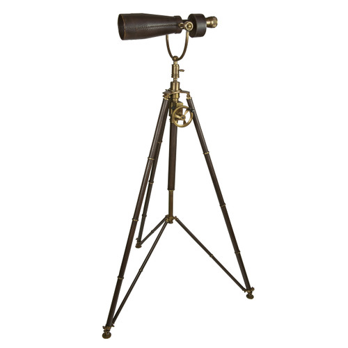 Monocular Tripod Brass Nickel Leather Nautical Telescope