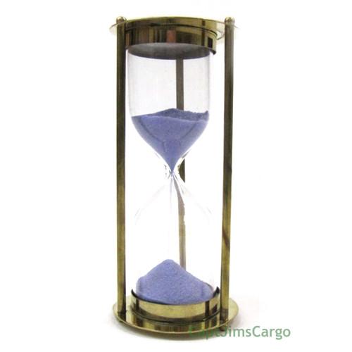 Brass Marine Sandglass Hourglass 5 Minute Blue Sand
