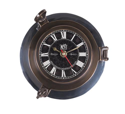 Ships Porthole Clock Bronze Aluminum Nautical Wall Decor