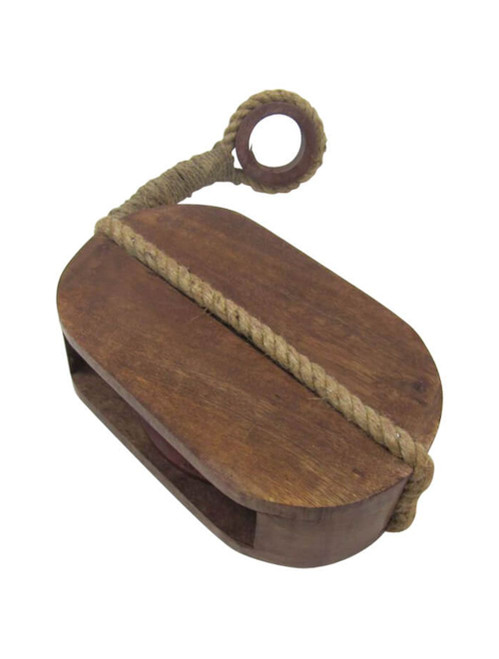 Wooden Block Tackle One Sheave Pulley Nautical Reproduction
