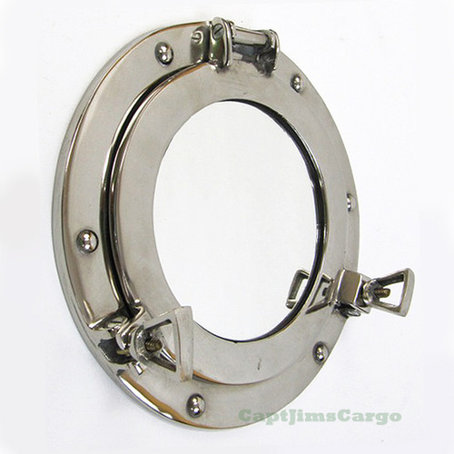 Aluminum Chrome Finish Ships Porthole Mirror