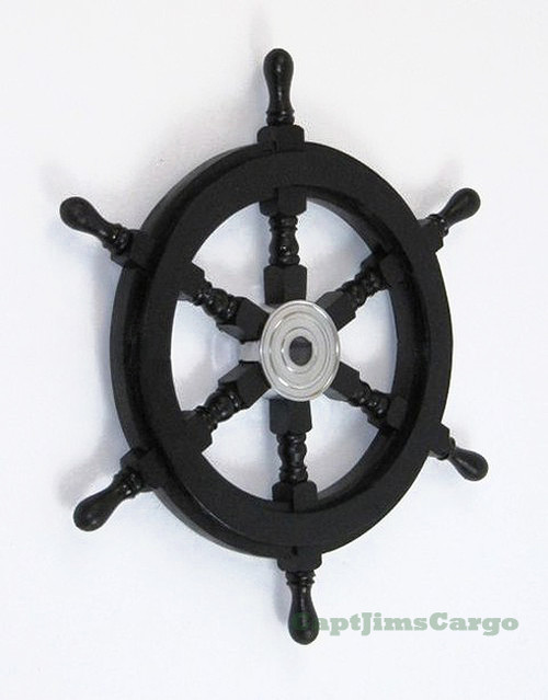 Black Pirate Ships Steering Wheel Wooden Nautical Wall
