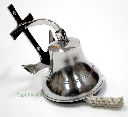 Aluminum Ships Bell Chrome Anchor Bracket Nautical Doorbell