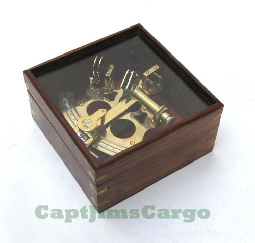 "German Navy Brass Sextant 7"" w/ Glass Top Case Marine Astrolabe"
