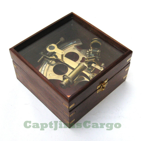 German Navy Brass Sextant Glass Top Case Astrolabe