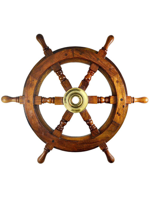 Nautical Teak Wood Ships Wheel Solid Pirate Wall Decor
