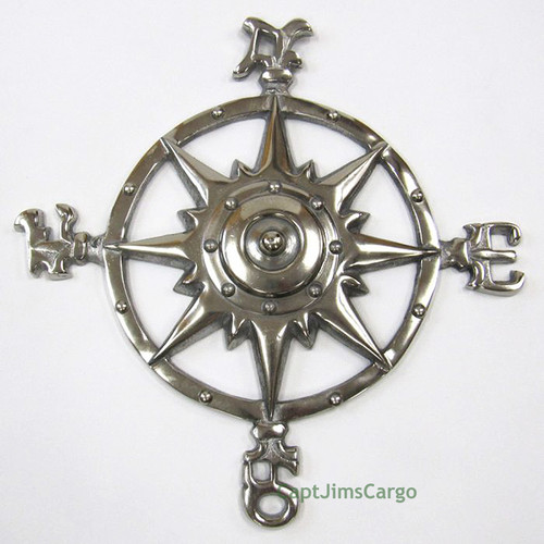 Aluminum Compass Rose Chrome Windrose Nautical Wall Decor