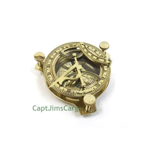 Brass Compass Folding Sundial Wood Case Nautical Gift