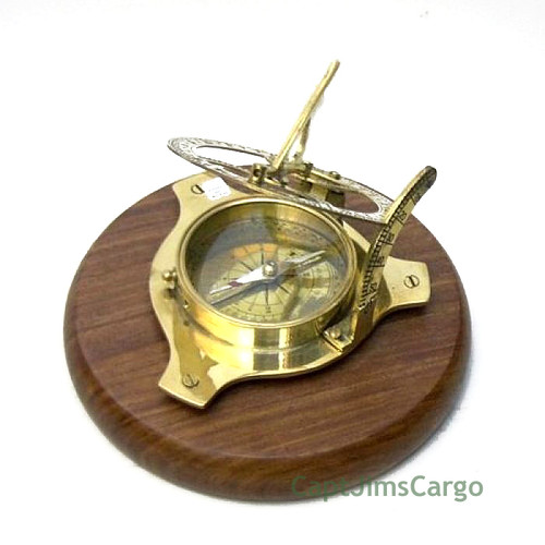 Brass Compass Sundial Teak Wood Base Decorative Decor