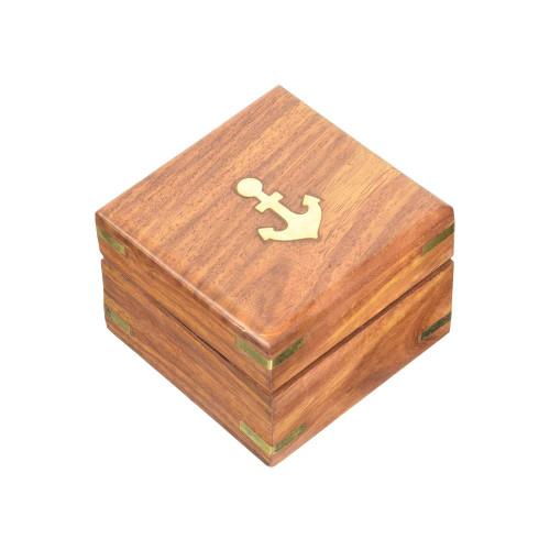 Small Brass Sextant Wooden Case Nautical Ship Desktop Decor