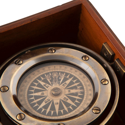 Bronze Lifeboat Compass Wooden Case Nautical Gift