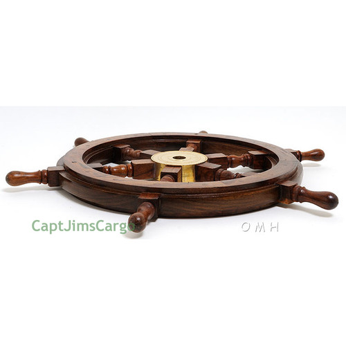 Rosewood Ships Wheel Brass Hub Boat Decor
