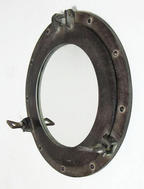 Ships Cabin Porthole Mirror Aluminum Antique Finish