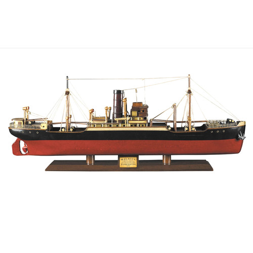 1897 Malacca Tramp Steamer Wooden Cargo Ship Model