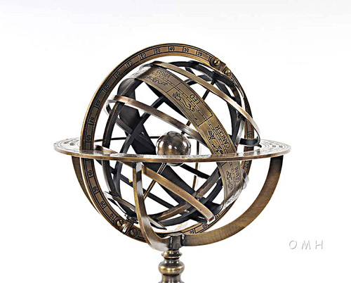 Brass Armillary Sphere Globe Hardwood Base Antiqued Finish
