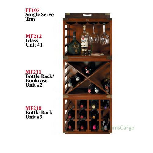 Complete Set of 4 Wine Bottle & Glass Rack Units