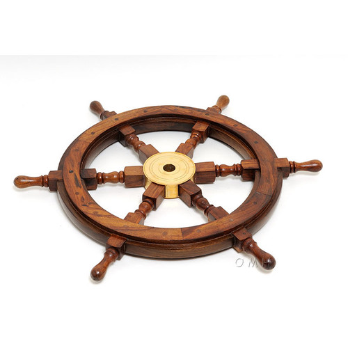 Rosewood Ships Wheel Wall Decor Nautical Art