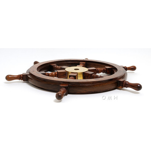 Rosewood Ships Wheel Wall Decor Brass Hub