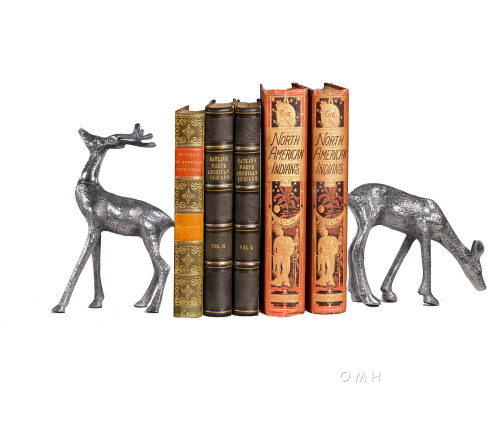 Buck Doe Deer Statue Figurines Metal Home Decor