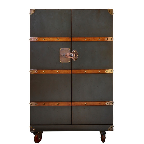 Polo Club Bar Gunmetal Grey Steamer Travel Trunk