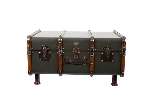Stateroom Trunk Grey Steamer Travel Coffee Table Storage Furniture