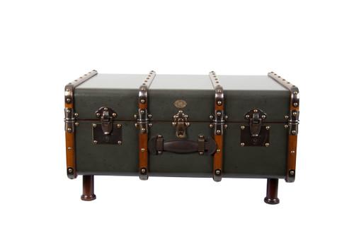 Stateroom Trunk Grey Steamer Travel Coffee Table Storage Furniture