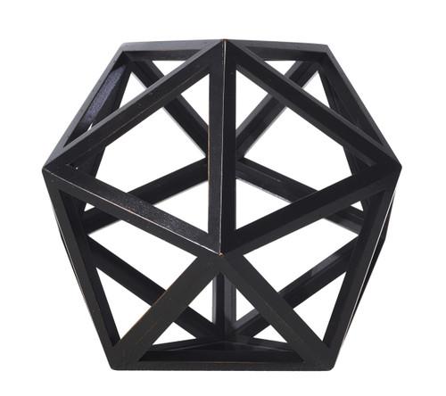 Icosahedron Black 3D Geometric Water Figurine Model Wood