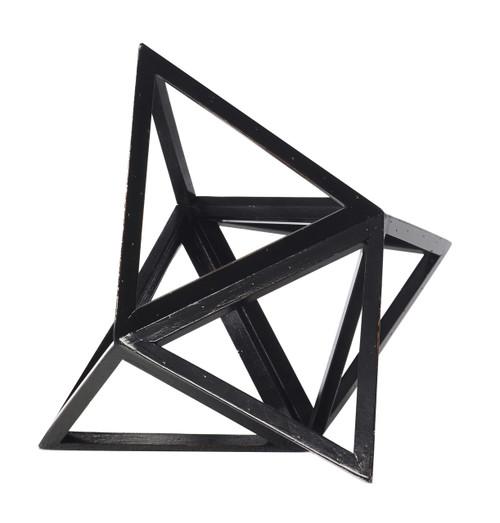 "Tetrahedron Black Elevated 3D Geometric Fire Figurine Model 9"" Wood"