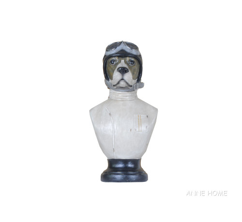Aviator Dog Head Figurine Flying Hat Helmet Decor