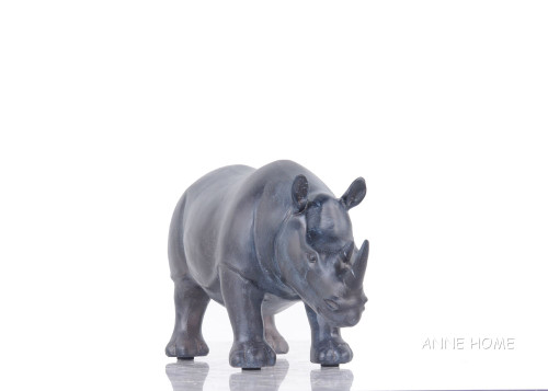 Rhinoceros Figurine Statue African Safari Living Room Decor