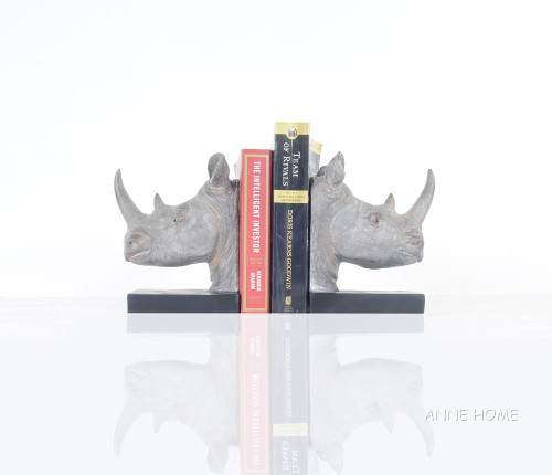Rhinoceros Head Bookends Figurine Statue African Safari Decor