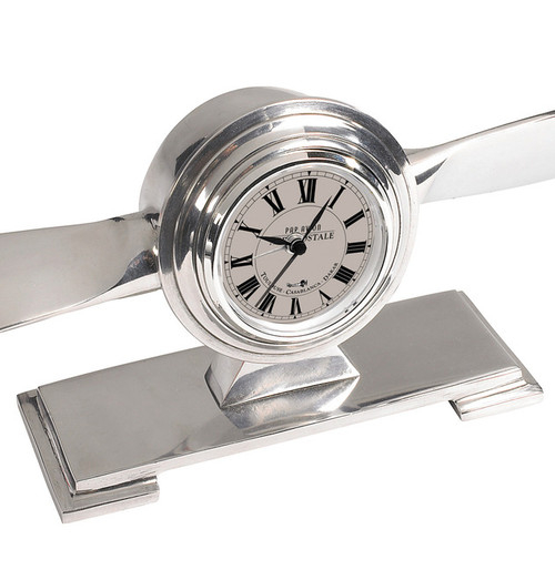 Propeller Desk Clock Trench Art Aluminum Aviation