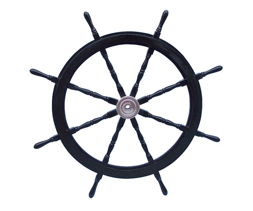 Black Ships Steering Wheel Chrome Hub Pirate Decor
