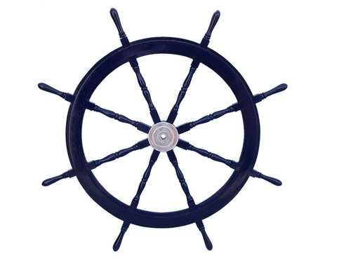 Blue Ships Steering Wheel Chrome Hub Marine Decor