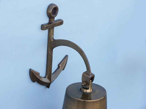 XL Antiqued Brass Cast Aluminum Ship Bell Anchor Bracket