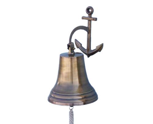 XL Antiqued Brass Cast Aluminum Ship Bell Anchor Bracket