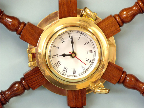 Ships Wheel Brass Porthole Clock Wooden Nautical Decor