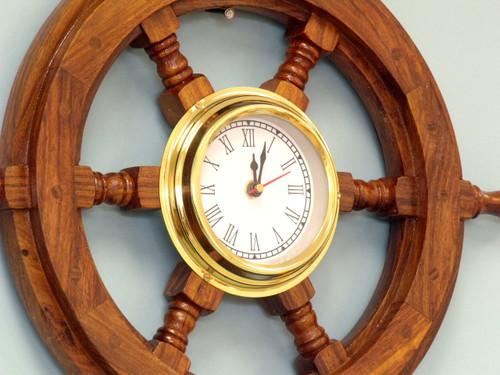 Ships Steering Wheel Brass Clock Nautical Wall Decor