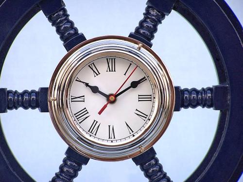 Ships Steering Wheel Blue Chrome Clock Wall Decor