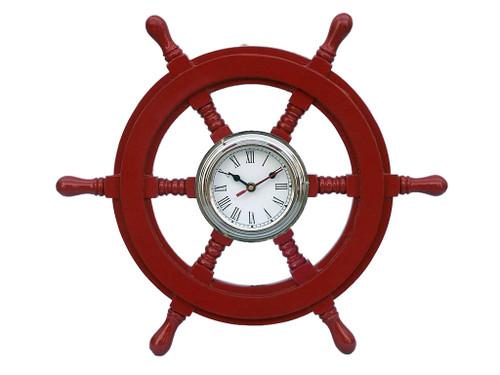 Ships Steering Wheel Red Chrome Clock Wall Decor