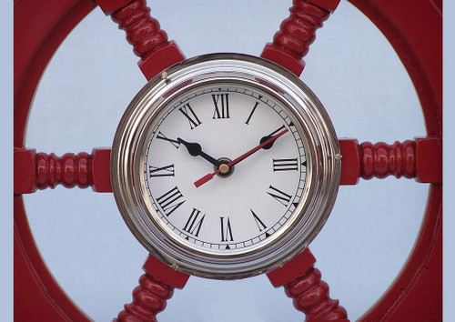 Ships Steering Wheel Red Chrome Clock Wall Decor