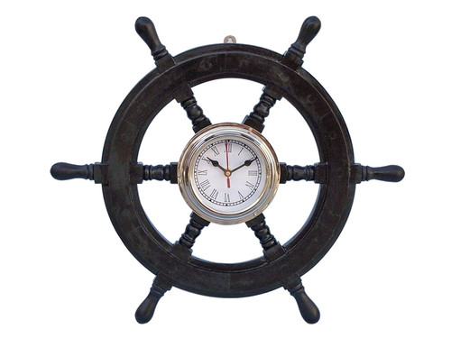 Ships Steering Wheel Black Chrome Clock Pirate Decor