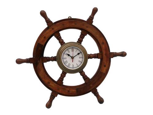 Wood Ships Steering Wheel Antiqued Brass Clock