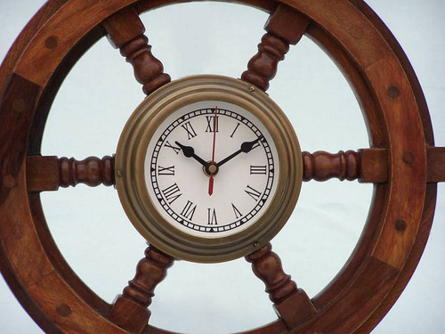 Wood Ships Steering Wheel Antiqued Brass Clock